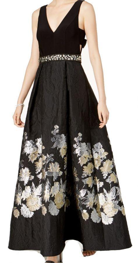 Betsy & Adam Woherren Embellished Waist Floral-Print Fit & Flare Gown schwarz