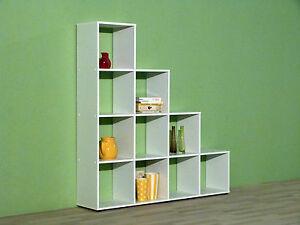 regal raumteiler wei eiche dunkel in 2 gr en stufenregal treppenregal ebay. Black Bedroom Furniture Sets. Home Design Ideas