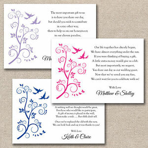 50 x DIY Birds Butterflies Wedding Poem Cards For Invitations