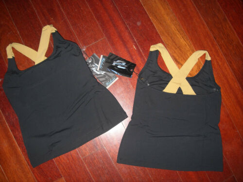 NWT FRONTLINE CROSSBACK TANK TOP DANCER BLACK GOLD