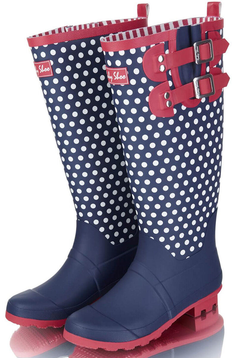 Ruby Shoo LAYLA Vintage POLKA DOT Buckle GUMMISTIEFEL Wellington Boot Rockabilly