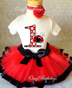 116f6fb39 Ladybug Red Black Lady Bug Baby Girl 1st First Birthday Tutu Outfit ...