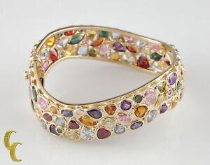Multi-Colored-Gemstone-18k-Yellow-Gold-Bangle-Bracelet