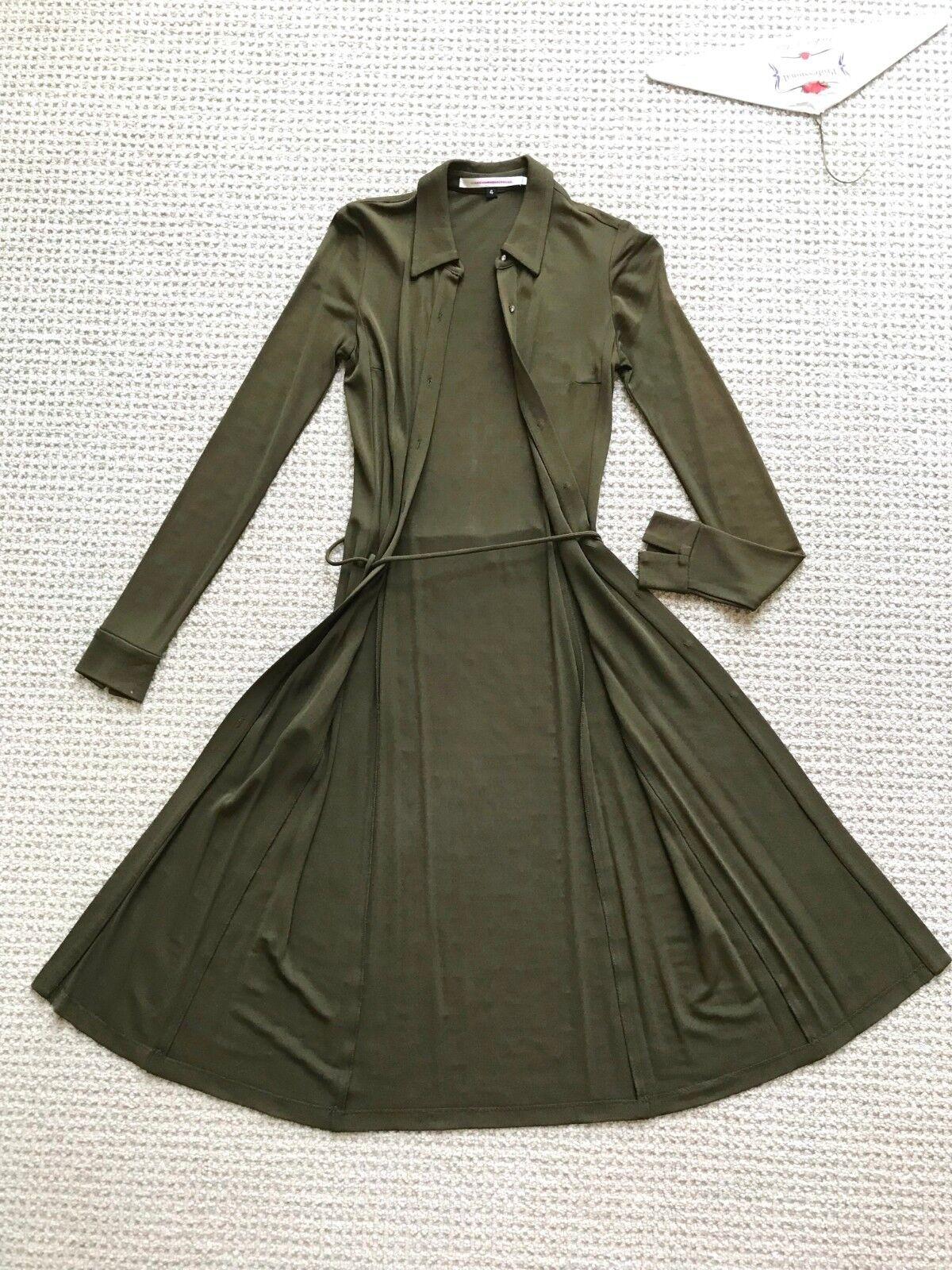 Diane von Furstenberg olive army Grün shirt dress belt crystal buttons sz 4 0-2