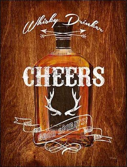 Sam Appleman  Whisky Drinker Wood Sign Keilrahmen-Bild Leinwand Drinks Bar