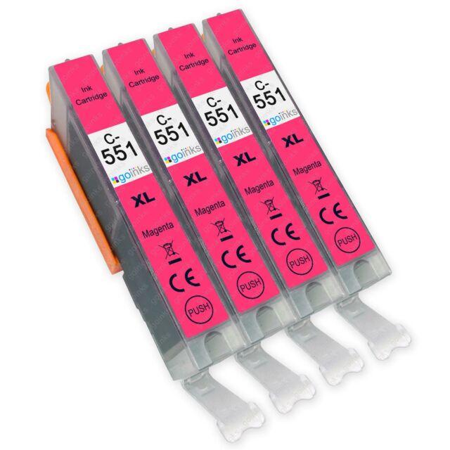 4 Magenta Cartuchos de tinta para reemplazar Canon CLI-551M non-OEM / Compatible