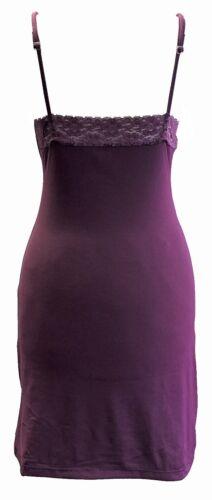 Ladies Womens Sleeveless Knee Length Lace Insert Chemise Nightdress Nightie