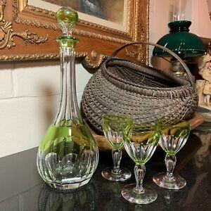 Val-St-Lambert-Peridot-Green-13-1-4-034-Decanter-3-Paul-I-Tcpl-4-7-8-034-Wine-Glasses
