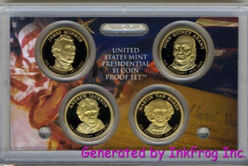 2008 S 4 Coin Presidential Dollar Proof Set Deep Cameo Gem Proof No BOX//COA