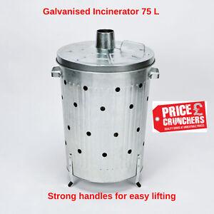 Garden-Incinerator-Bin-Galvanised-Waste-Burning-Rubbish-Burner-Large-75-litre