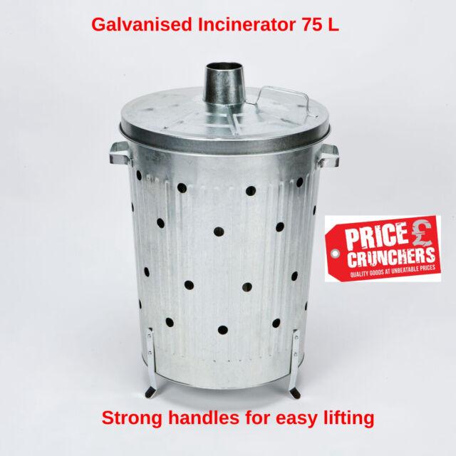 Garden Incinerator Bin Galvanised Waste Burning Rubbish Burner Large 75 litre