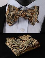 BF4011DS Gold Floral Bowtie Men Silk Self Bow Tie handkerchief set