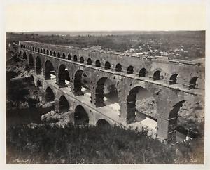 France-Nimes-le-pont-du-Gard-Vintage-albumen-print-Tirage-albumine-21x27