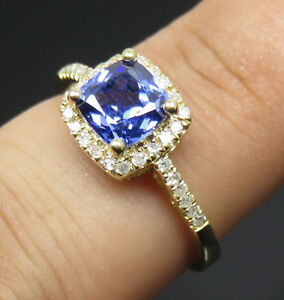 SOLID-18K-YELLOW-GOLD-STUNNING-BLUE-TANZANITE-ENGAGEMENT-DIAMOND-WEDDING-RING