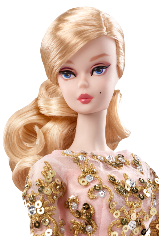 Gold Label Blaush & Gold Cocktail Kleid Silkstone Poseable Barbie Doll