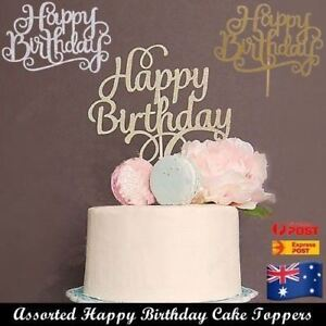 Happy Birthday Cake Topper Gold Silver Glitter Party Cake Decorating