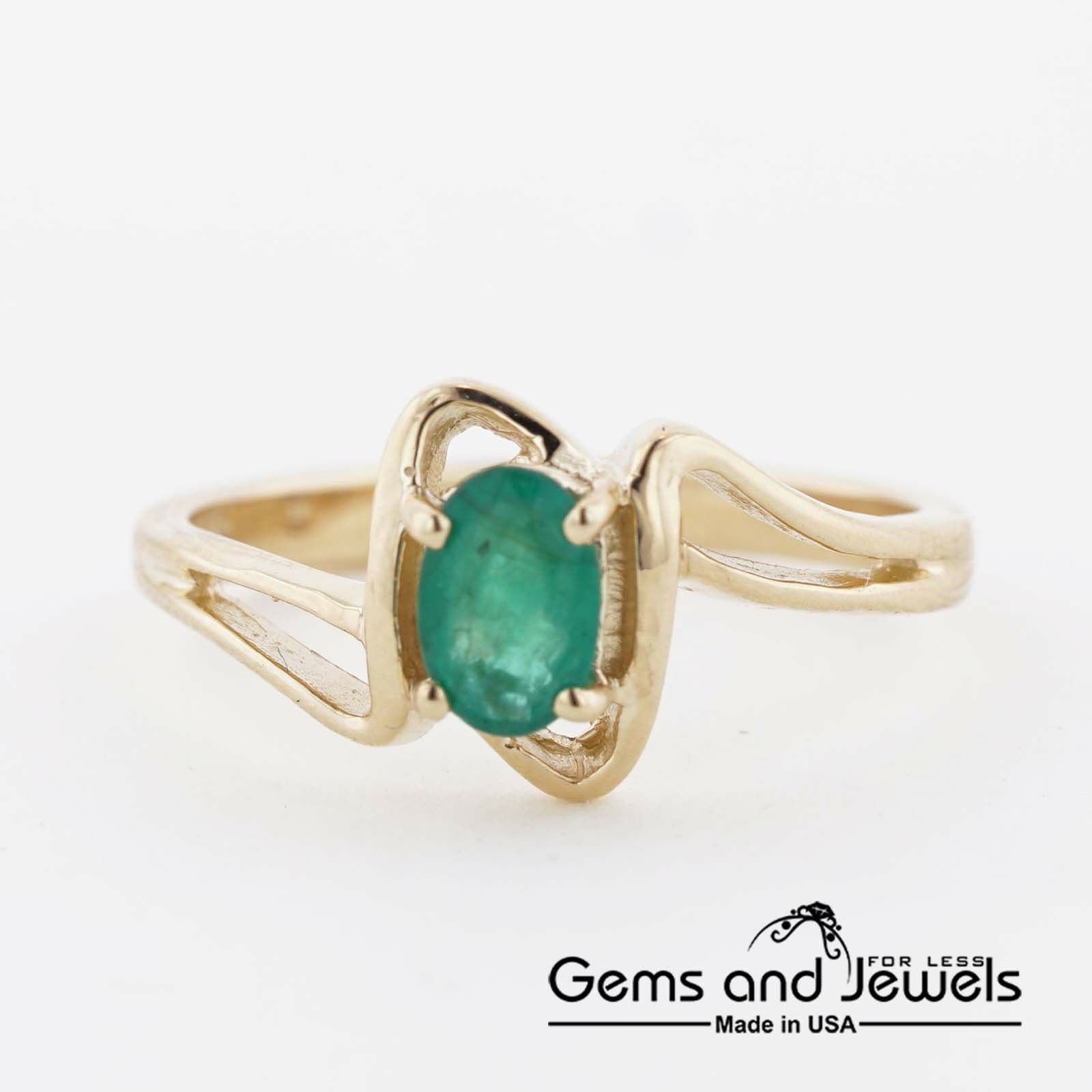 1050 Natural Emerald and Solid 14K Yellow gold Women's Ring