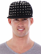 Black Unisex Punk Hedgehog Rock Hip Hop Silver Rivet Stud Spike Spiky Hat Cap