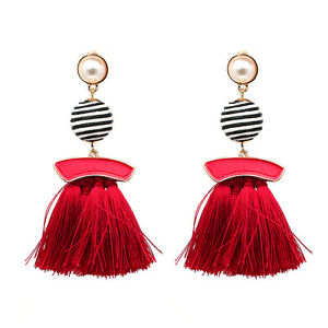 Image Is Loading Red Trendy Zara Tel Drop Stud Earrings