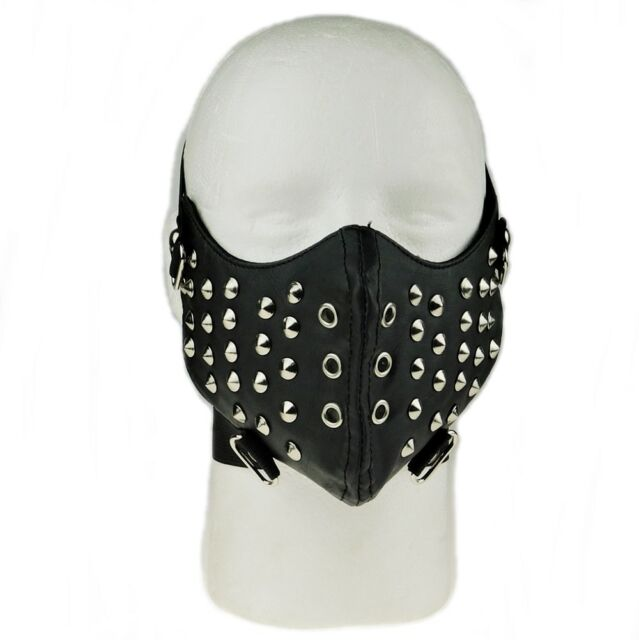 Black Leather Tokyo Ghoul Zipper Punk Half Face Biker Cosplay Motorcycle Mask For Sale Online Ebay