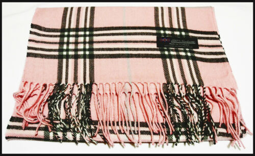 100/% cashmere super soft unisex scarf neck warmer plaid design color pink