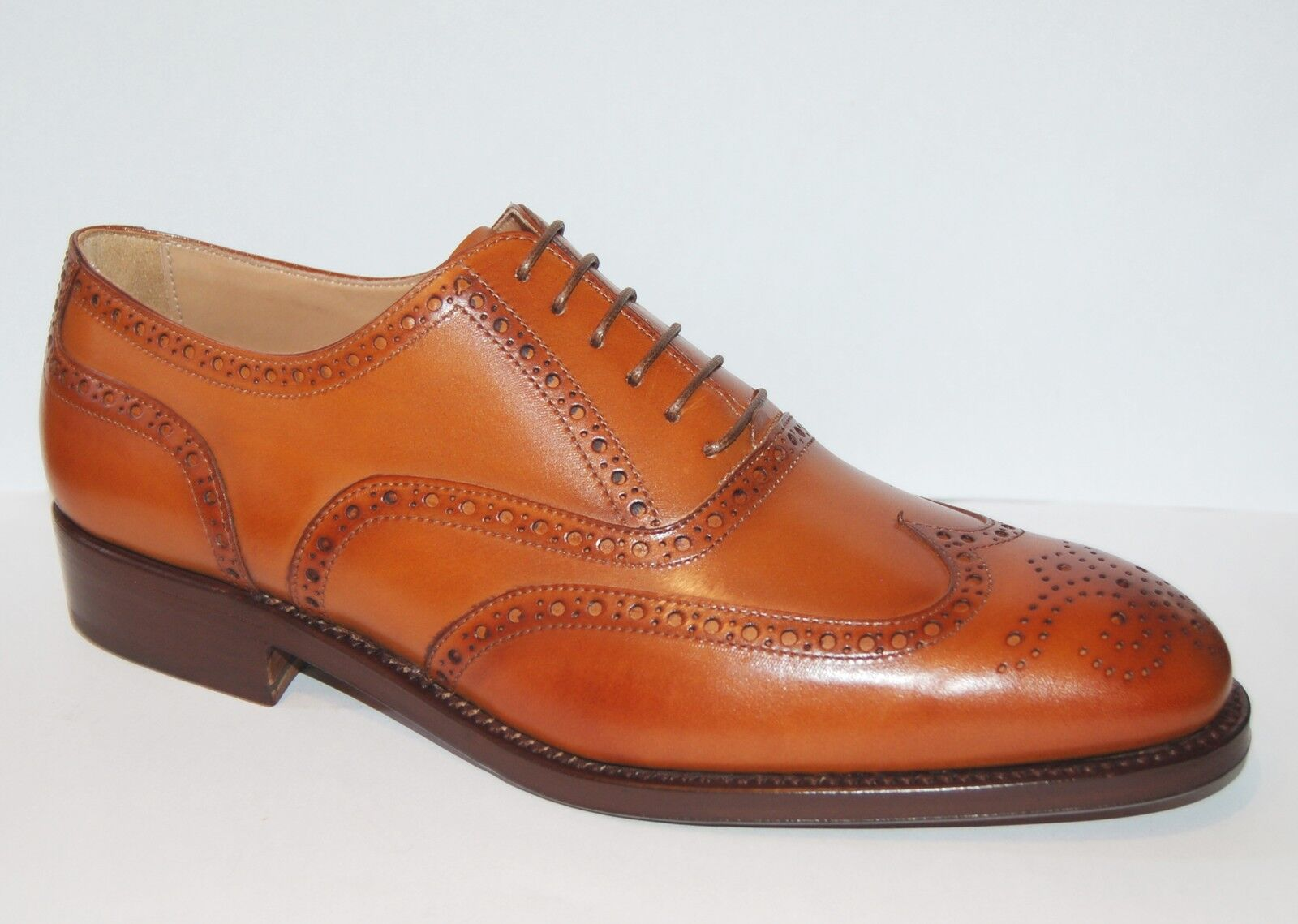 MAN OXFORD WINGTIP - ANTIQUED TAN BOMBAY CALF - - - PERFS&MEDALLION - LTH SOLE RAPID 3d752c