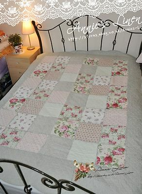 Shabby Country Green Print Patchwork Single/Double bed Sofa/Chair Throw/Blanket