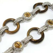 "Judith Ripka Sterling Silver Tiger's Eye Citrine Toggle Link Bracelet 8"" w/ Box"