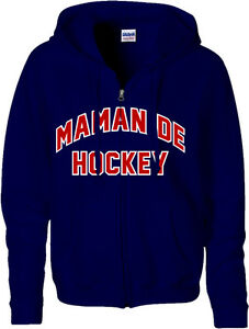 "Chandail ""Maman Hockey"" à capuche full zip en molleton, Marine, Taille X-Large."