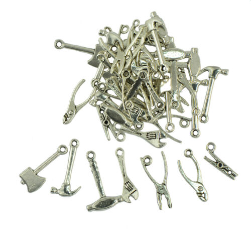 40pcs Assorted TOOL Charm Pendant AX Hammer Piler Wrench Mens Fashion Craft