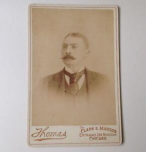 Cabinet-Card-Antique-Photo-Thomas-Chicago-IL-Man-Vintage-Photograph
