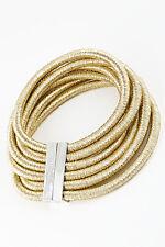 "10"" gold 6 layer multi strand row coil choker collar necklace bib balmain style"