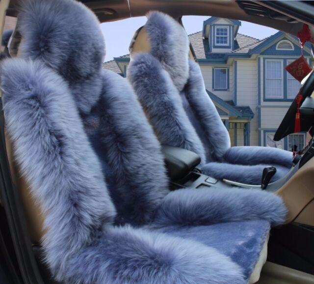100Real Gray Sheepskin Long Wool Car Seat CoversUniversal Fitby Pair