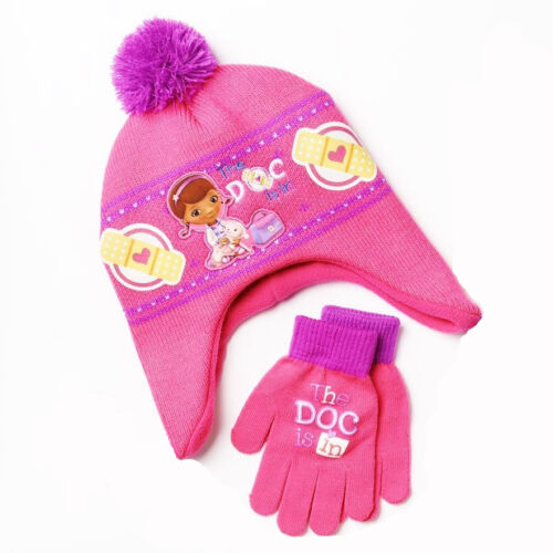 DOC McSTUFFINS DISNEY Fleece-Lined Knit Aviator Winter Hat /& Gloves Set NWT $22
