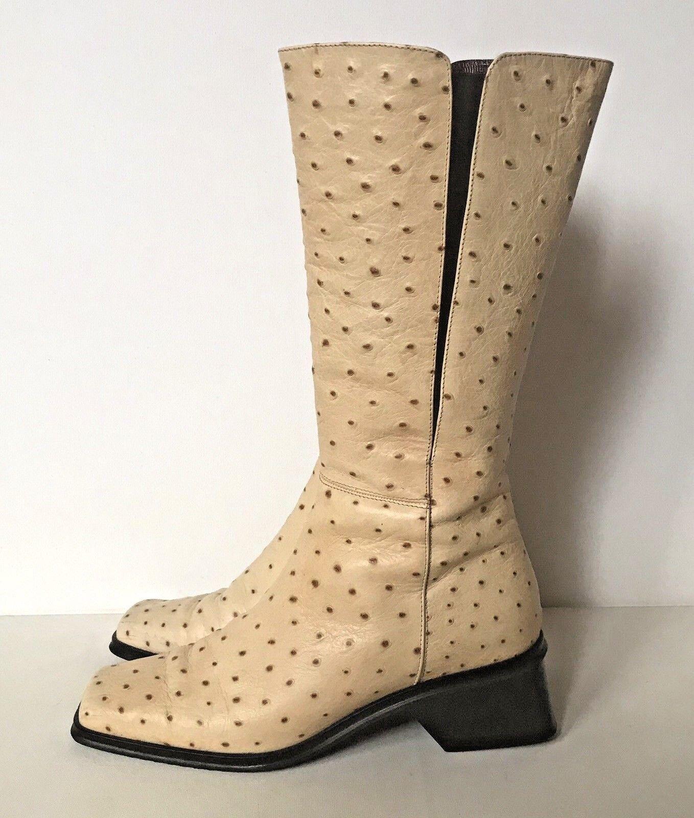 CAIMAN Luxus Echt Leder Stiefel 37,5 Vintage Straußenprägung Vanille elegant Top