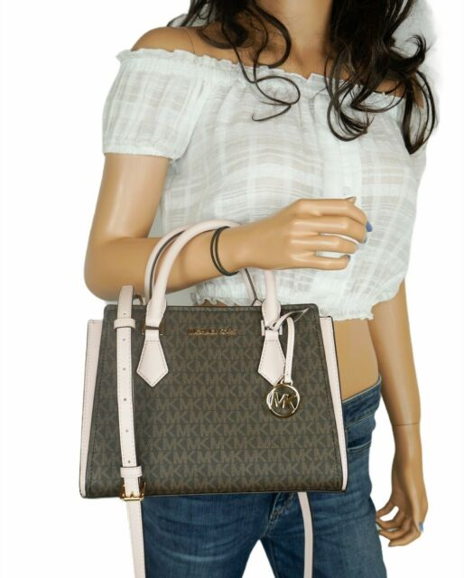 MICHAEL KORS HOPE MEDIUM MESSENGER SATCHEL BAG MK SIGNATURE BROWN PINK(BLUSH)
