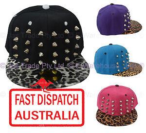 Flat Peak Brim Visor Studded Snapback Hip Hop Punk Spikes Studs ... 61a5f2cb034