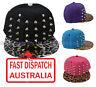 Flat Peak Brim Visor Studded Snapback Hip Hop Punk Spikes Studs Baseball Hat Cap