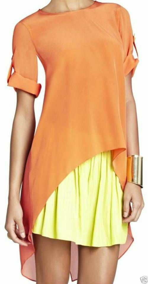 NEW BCBG Sunset Orange Caterina Split-Back Top  RXI1P696
