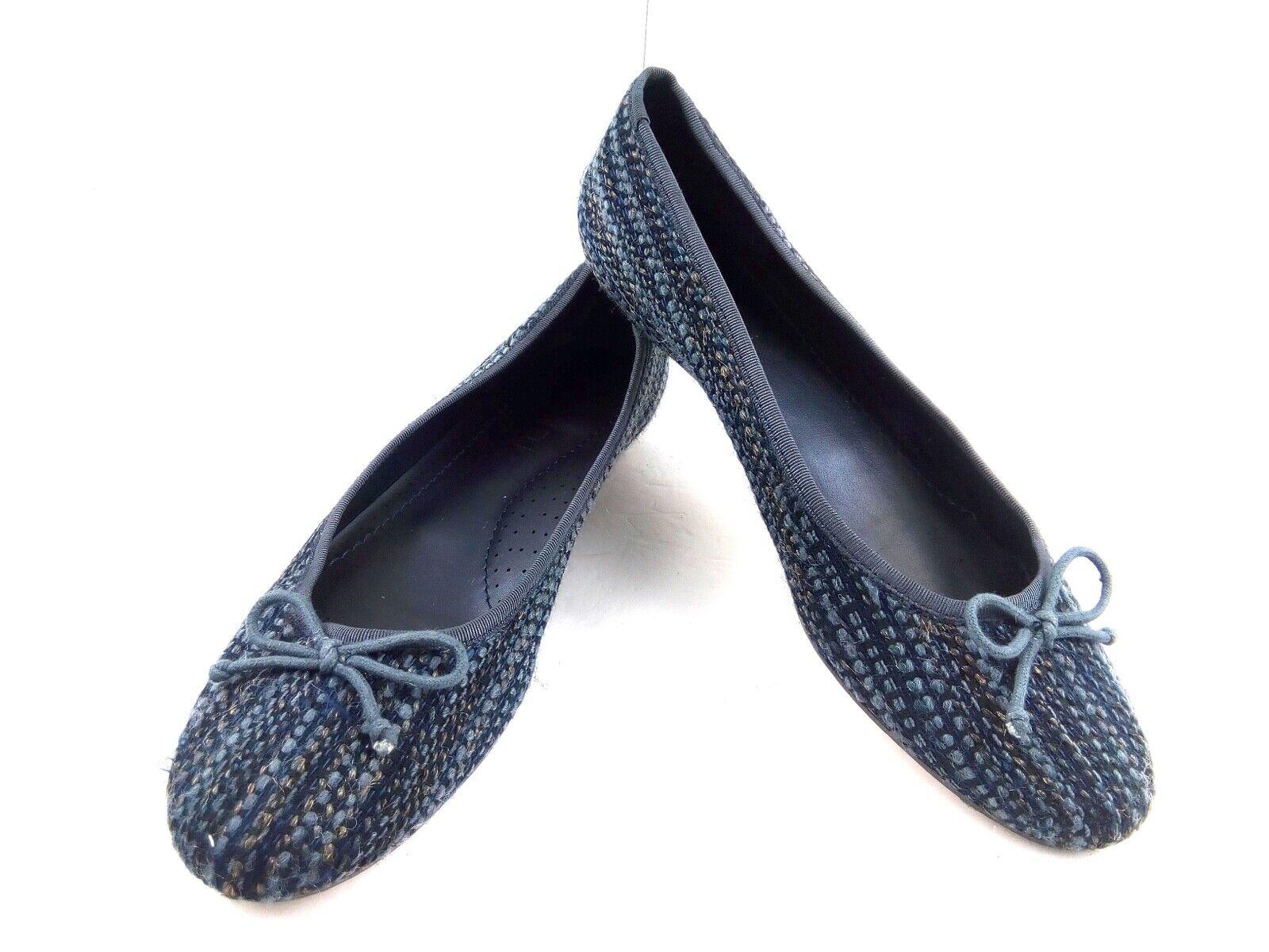 Vaneli Women's 9.5M bluee   Grey Bow Tweed Fabric slip-On Ballet Flats shoes