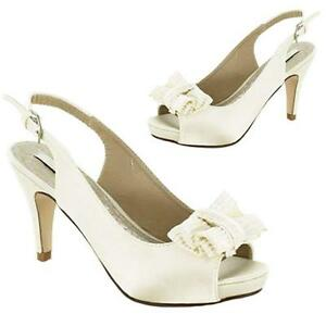 WOMENS-WEDDING-SHOES-LADIES-HEELS-SATIN-BRIDAL-BRIDESMAID-IVORY-SHOES-SIZE