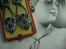 "Vintage ART DECO Ohrhänger Simili "" Smaragd Brillianten"" ohrstecker ohrringe"