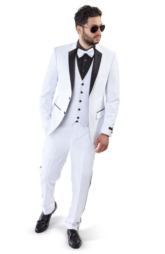 Slim Fit Men Suit White Tuxedo 2 Button Black Satin Collar 3 Piece Vested AZAR