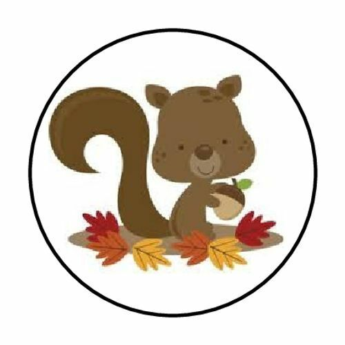 """48 FALL SQUIRREL ENVELOPE SEALS LABELS STICKERS 1.2/"""" ROUND"""