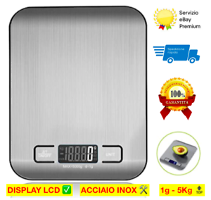BILANCIA DA CUCINA DIGITALE LCD acciaio inox alimenti tara 1g-5Kg elettronica ✅