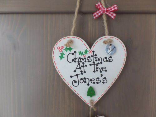Personalised  Christmas At The Family Name Plaque Heart Gift Present Sign Xmas