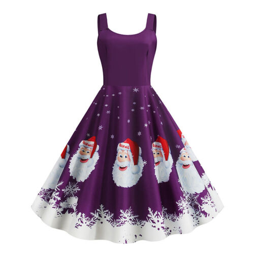 Chriatmas Women Vintage Sleeveless Santa Print Xmas Swing Dress Evening Party UK