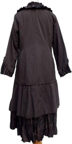 NEW Stunning Brown LAGENLOOK Frill Hem Coat SIZE 10//12