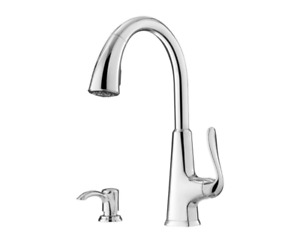 Pfister Pasadena Single-Handle Pull-Down Sprayer Kitchen Faucet w/Soap Dispenser
