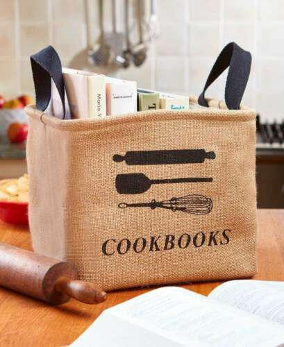RV Kitchen Storage Bins Cookbook Organizer Canvas Tote Basket Brown Jute Gifts